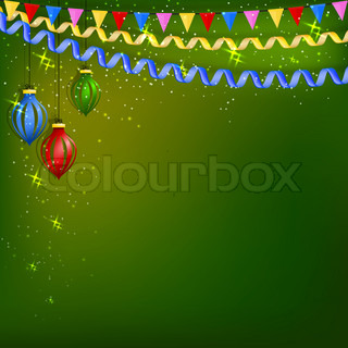 Green festive background with serpentine, Christmas toys and flags. Vector illustration