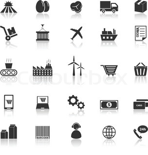 supply chain icons with reflect on white background stock
