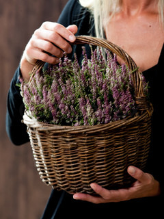 A caucasian woman holding a basket of autumn plants