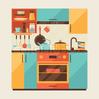 Kitchen furniture accessories and interior cartoon for Kitchen room cartoon images