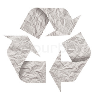 Recycle symbol made of crumpled paper. Isolated on white