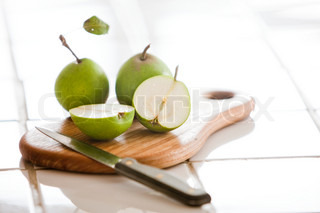 Slices of fresh pears
