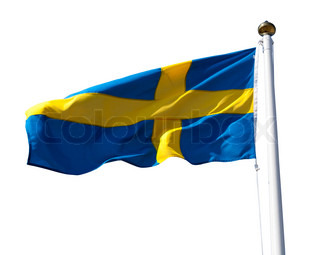 Sweden flag with flagpole