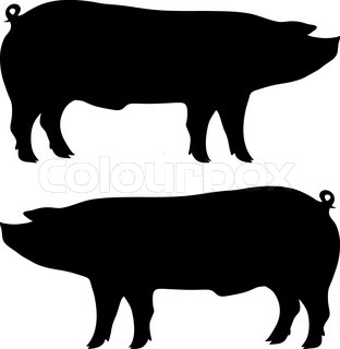 Drawn vector illustration of an chef pig making bbq stock vector - Collection Of Silhouettes Of Pigs Stock Vector