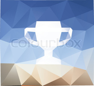 Geometrical winner cup icon, colorful polygonal background