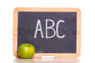 ABC chalkboard and apple