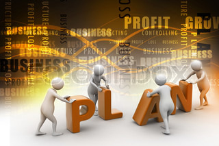 3d render of person placing plan letters
