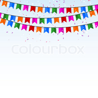 Celebratory background with confetti and flags. Vector illustration