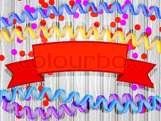 Set confetti, streamers, ribbon header on a wooden background. Vector illustration.