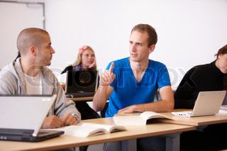 University students exchanging ideas