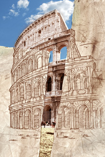 colosseum hand draw collage background