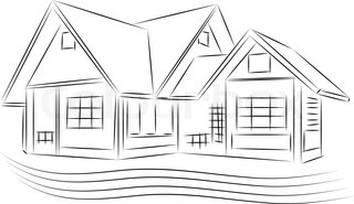3D Rendering Wire Frame Of House White Background