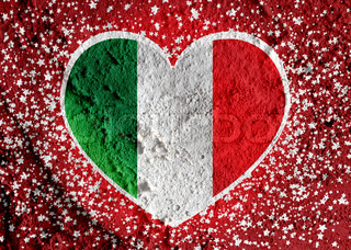 Love Italy flag sign heart symbol on Cement wall texture background design