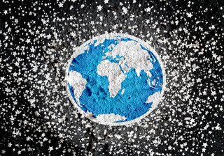 Globe earth idea   on Cement wall texture background design
