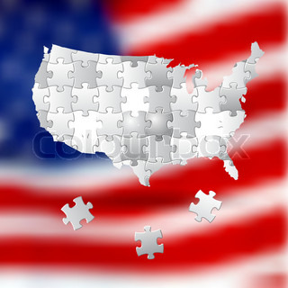 Vote for America, election background made from white puzzle pieces, on USA blurred flag