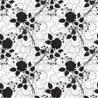 Seamless floral pattern, rose silhouettes