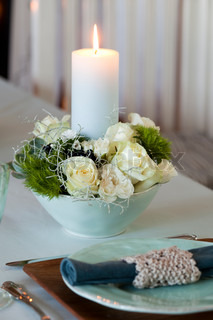Candlelight centerpiece on the table