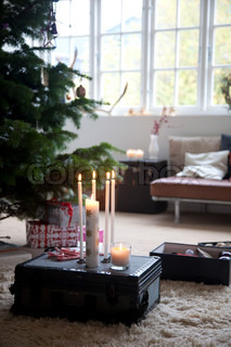 Candlelights  and Christmas decorations at home