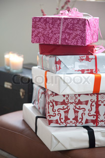 A pile of Christmas presents
