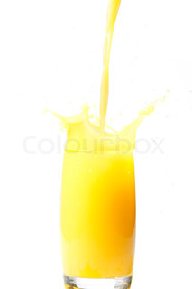 Fresh orange fruit juice on a glass