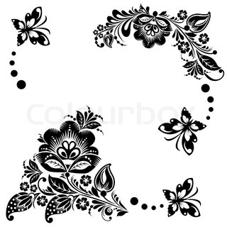 Abstract floral background with butterflies.