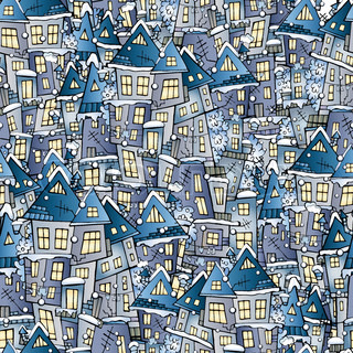 winter drawing houses seamless pattern