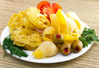pasta on a plate, with fennel, parsley and olives