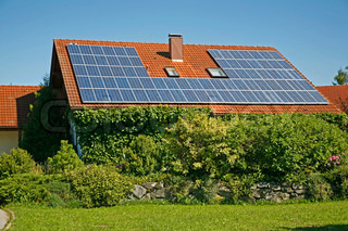 German house with solar collector