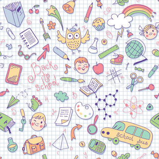Back to school. Vector seamless pattern.