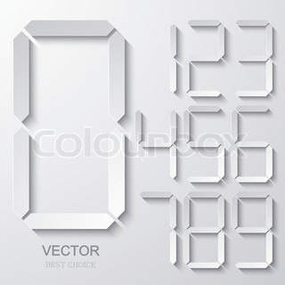 Vector modern electronic numbers set.