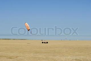 Beach buggy kite surfing
