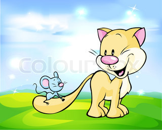 cute cat play with mouse on green meadow