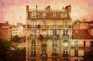 Like an old Japanese print. Several of my photos worked together to make a dreamlike retro look. Dream of Paris.