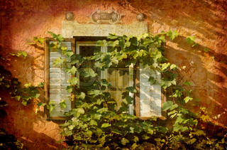 Artistic work of my own in retro style - Postcard from Italy. - Window with ivy - Chiusa.