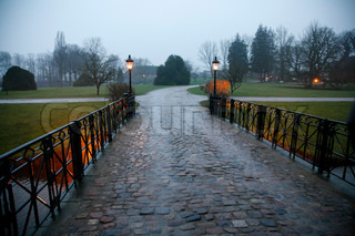 Entrance to the Danish castle Holckenhavn at a wet winter afternoon. We are looking in direction the park.