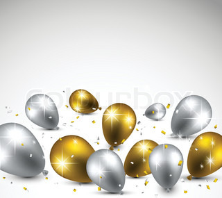 Celebration background with golden and silver balloons for Silver cloud balloons
