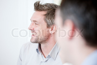 Portrait of caucasian businessmen during brainstorming