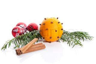 Billede af 'juledekorationer, frugt, closeup'