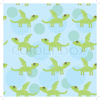 Seamless pattern with funny cute dragon on a blue background. Vector