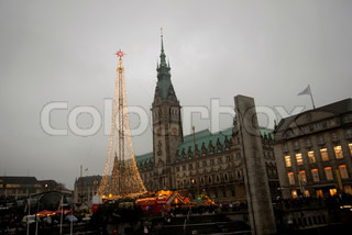 Christmas market and tree in front of Town Hall in Hamburg, Germany. December 6th 2008.