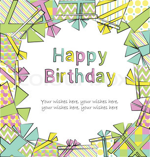 Vector colorful birthday card with gift boxes in different wrappings on background