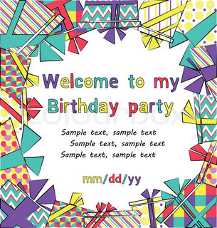 Vector colorful birthday invitation card with gift boxes in different wrappings on background