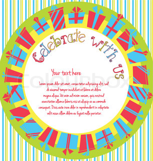 Vector colorful birthday invitation card with gift boxes in circle and stripes on background