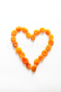 Heart shape made from dried apricot