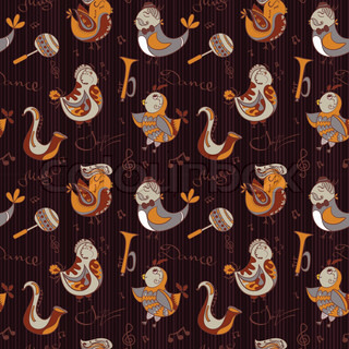 Cartoon jazz orchestra concept wallpaper. Birds sing and dancing. Seamless pattern can be used for wallpaper, pattern fills, web page backgrounds