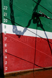 Details of draft marking on a green, white and red ship bow in harbour.