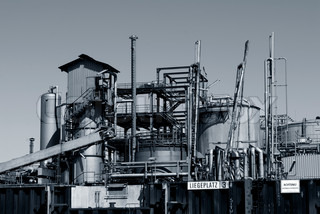 Oil refinery from harbor in Hamburg, Germany.