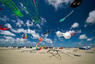 Drachen auf der ganzen Strand. Drachenfestival auf Fanoe, Dänemark. Juni 21 th. 2008