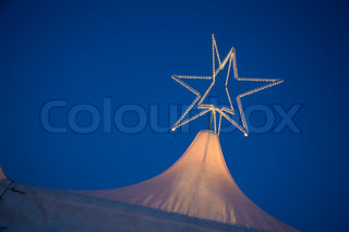 Top of a tent with star - Christmas Market, Hamburg - Germany.