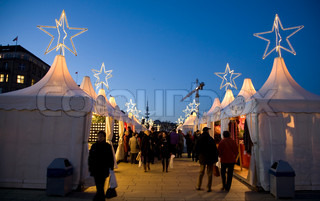 People at Christmas Market, Hamburg - Germany.